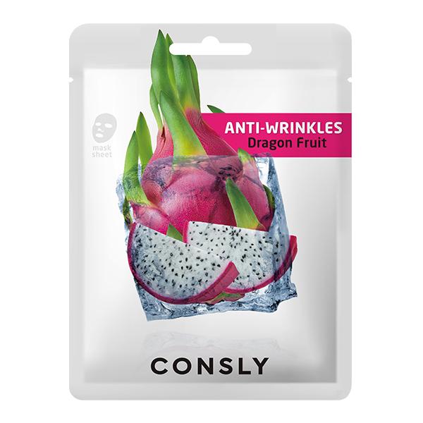 Маска тканевая CONSLY Dragon Fruit Anti-Wrinkles Mask Pack
