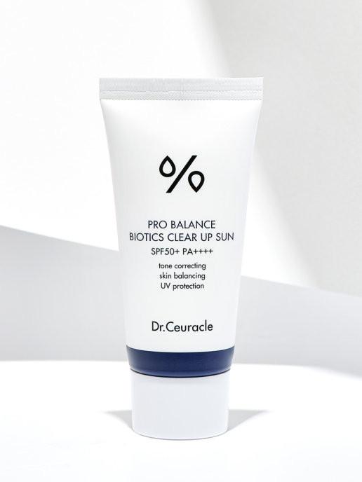 Солнцезащитный крем DR. CEURACLE Pro Balance Biotics Clear Up Sun 50+ PA++++