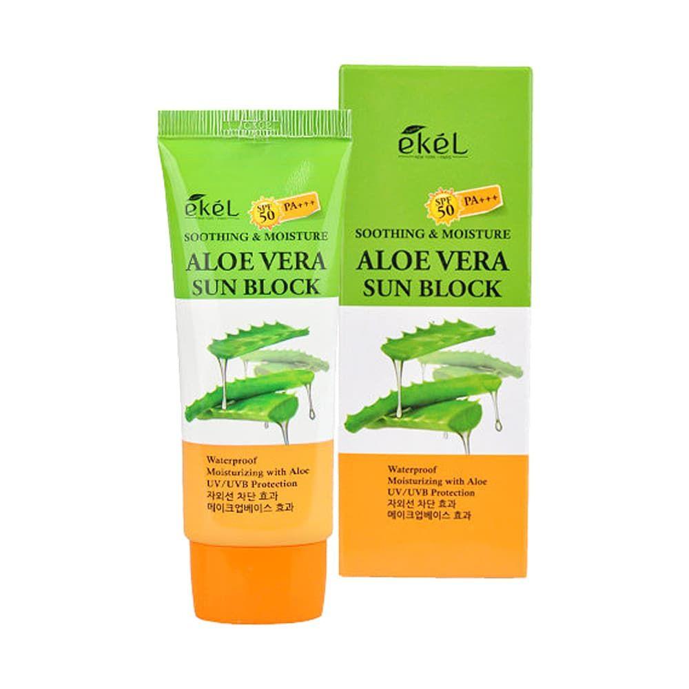 Солнцезащитный крем EKEL UV Soothing & Moisture Aloe Vera Sun Block SPF 50 PA+++